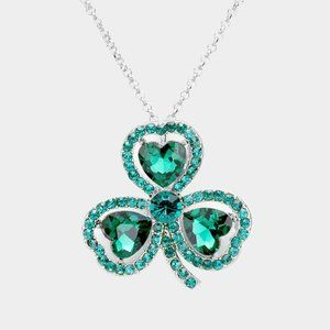 Heart Crystal Clover Pendant Necklace